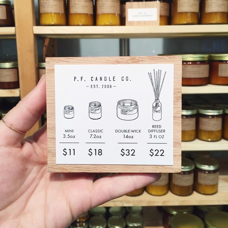Pricing Signage by P.F. Candle Co.