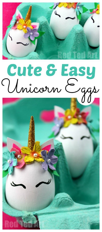 Easy Unicorn DIY Eggs. Fun Unicorn Egg Decorating idea. Make your own Egg Unicorn Decoration for Easter. We love Unicorn Crafts for Kids #easter #unicorns #eggs #eggdecorating