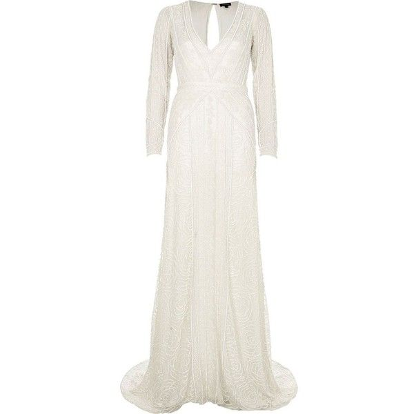 River Island Cream sequin long sleeve maxi dress (9,040 EGP) ❤ liked on Polyvore featuring dresses, white long-sleeve dresses, deep v neck maxi dress, long maxi dresses, white sequin dress and long sleeve maxi dress