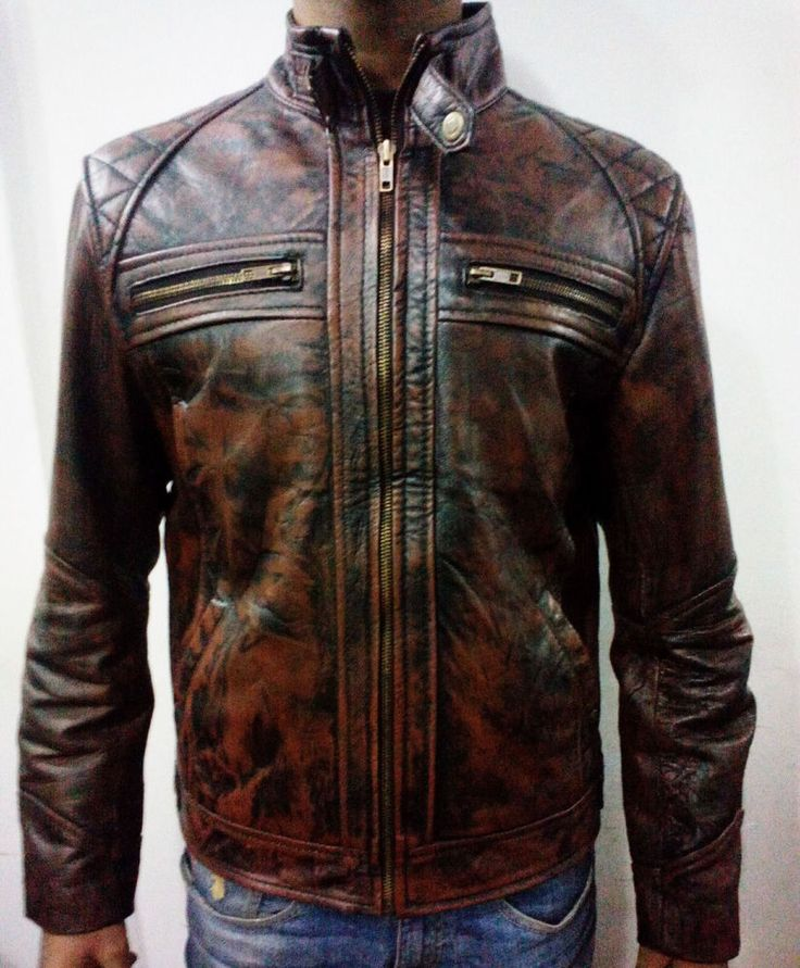 Mens motorcycle Dark Brown with tan distressed diamond