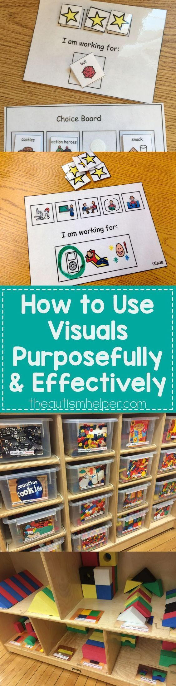 Using Visuals in Special Education and Autism Classrooms.  We all use them, but do we use them effectively? Great information and pictures.  Go to:  http://theautismhelper.com/use-visuals-purposefully-effectively/