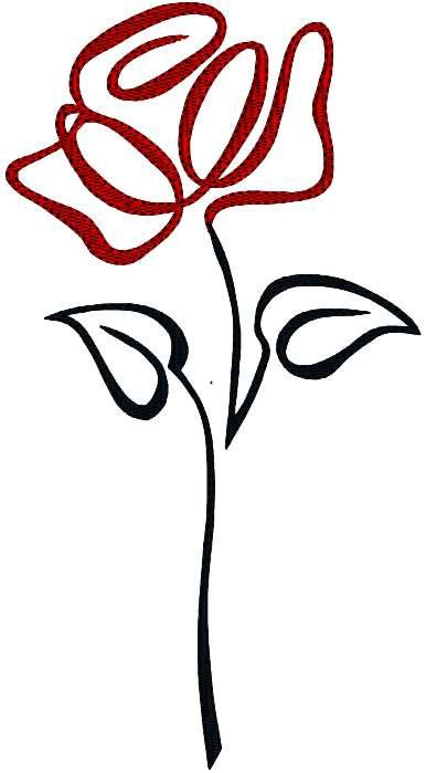 Rose Flower Floral Single Rose Abstract Machine Embroidery Design Pattern 3 hoop sizes
