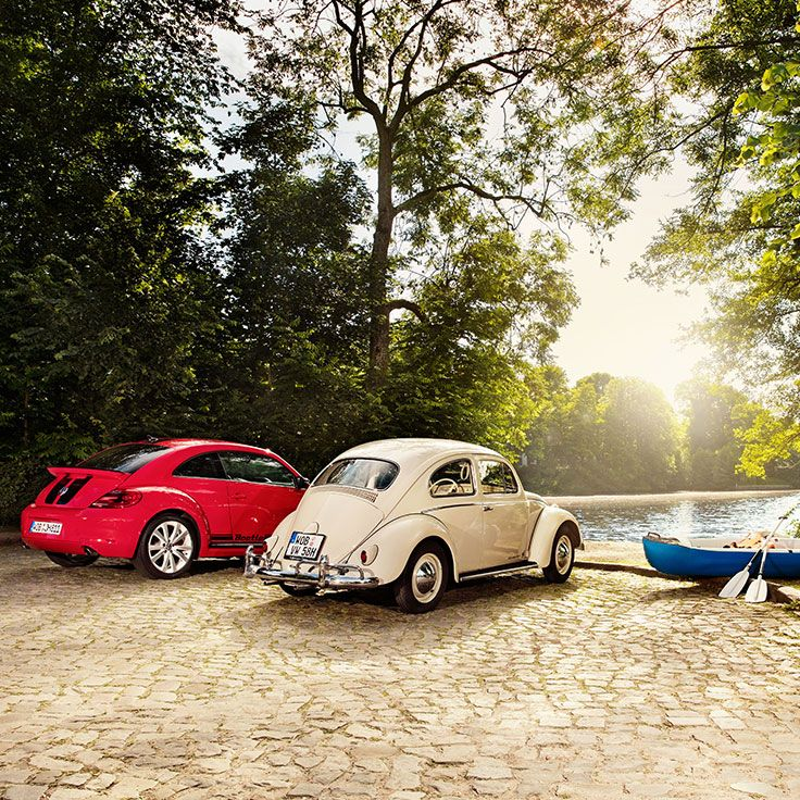 When generations meet. The original Beetle is simply a classic beauty and has always been a symbol for fun and good times. The current version of the Beetle – which is the seventh generation of this Volkswagen model – definitely carries on with this tradition – fun times guaranteed.