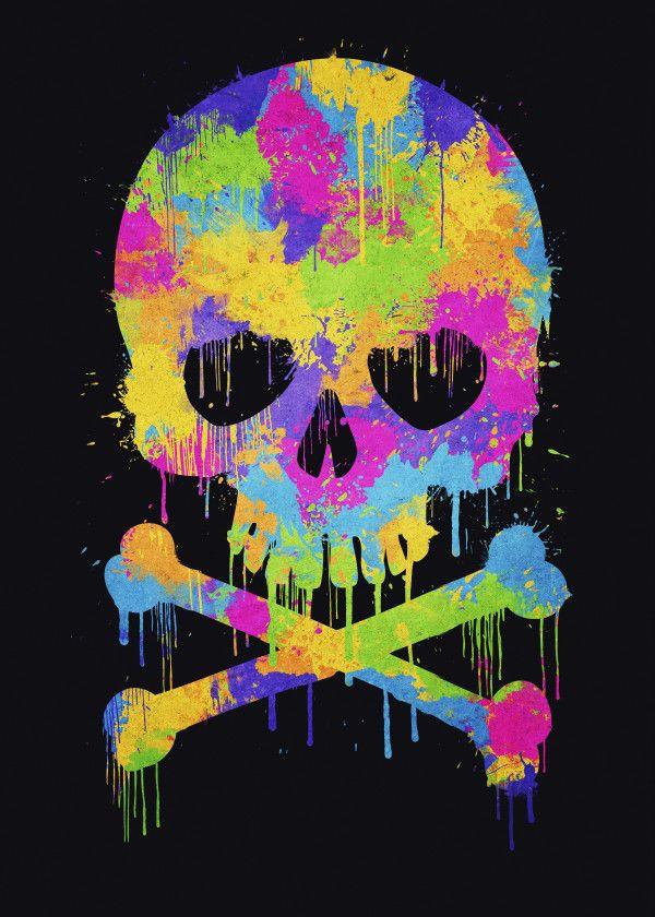 Abstract Trendy Graffiti Water Metal Poster Print Philipp Rietz Displate Skull Wallpaper Graffiti Wallpaper Graffiti