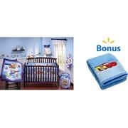Disney - Cars Junior Junction 4pc Crib Bedding w/BONUS Junior Junction Fleece Blanket Bundle