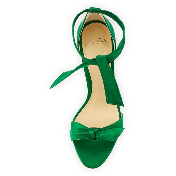 Alexandre Birman Clarita Satin d'Orsay Sandal, Emerald ❤ liked on Polyvore featuring shoes, sandals, satin sandals, d orsay sandals, alexandre birman, emerald shoes and dorsay sandal