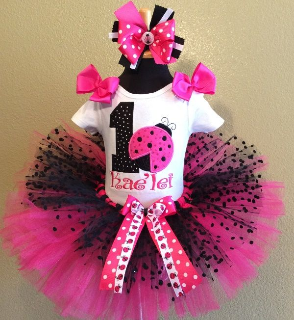 Hot Pink Black Polka Dot Ladybug Birthday Tutu Outfit
