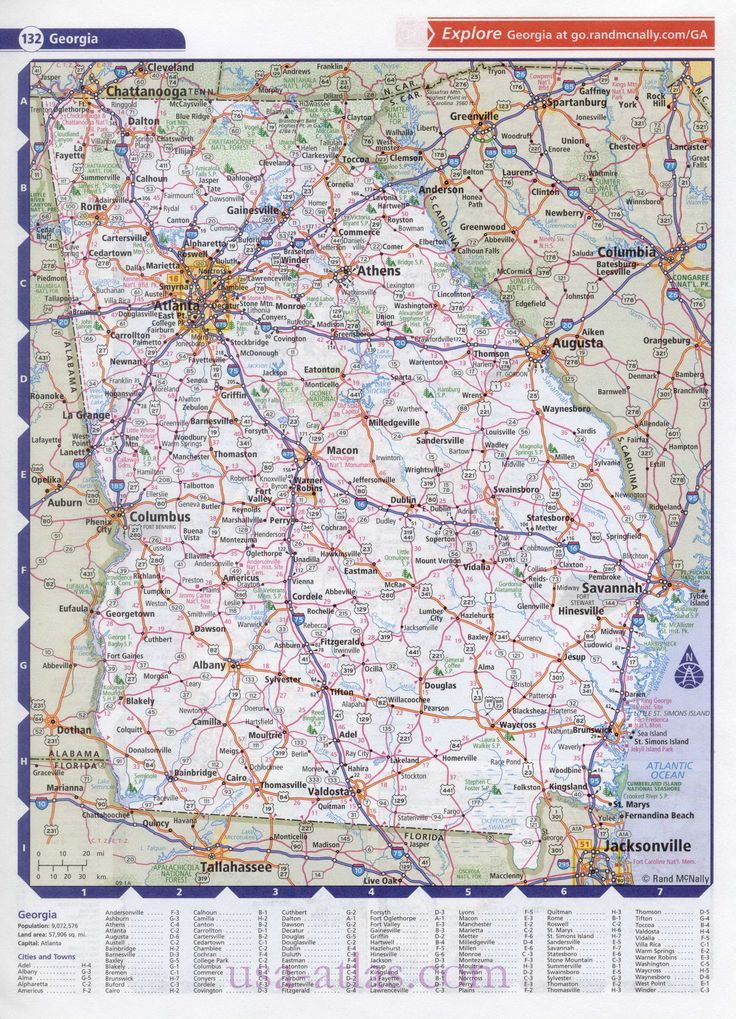 Map Of The State Of Georgia Clear Detailed Road Map Of