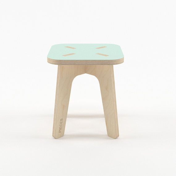 Mint wood stool modern scandinavian wooden step by PiecesDesigns