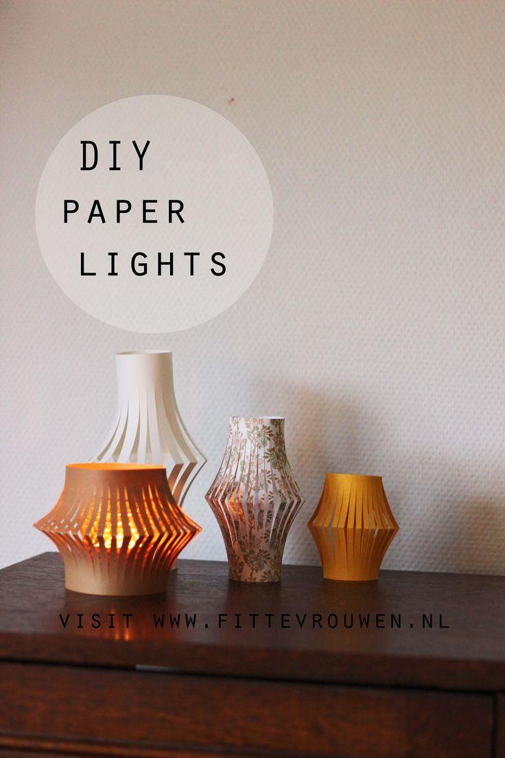 DIY for paper lights. Find instructions how to DIY at: http://www.fittevrouwen.nl/diy/diy-herfstige-papieren-lantaarn/