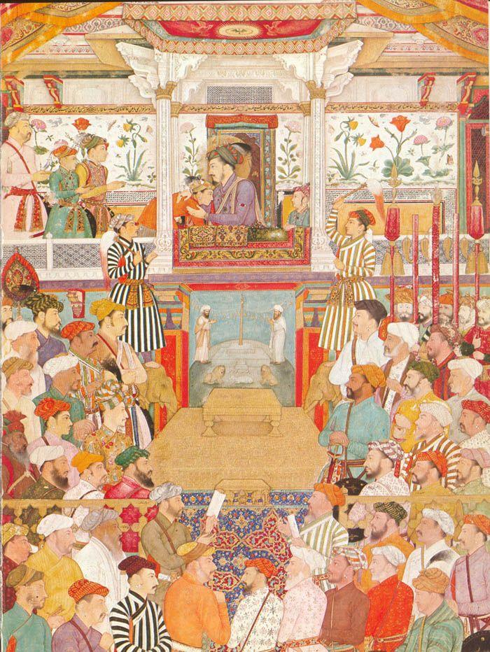 Shah Jahan's coronation ceremony in 1628.He is receiving his sons Aurangzeb, Shuja and Dara Shikoh who is being hugged by the emperor.Standing behind the sons is Asaf Khan. To the (R) 5 standard bearers and Mahabat Khan, Khan Alam, Khan Dauran,Muqarrab Khan, Saif Khan, Mu'taqid Khan, Muzaffar Khan, Islam Khan Mashhadi, Shahnawaz Khan,Mukhlis Khan, Allah Vardi Khan, Shaista Khan, Afzal Khan Allami, Khan Zaman, Mu'tamid Khan, Sarfraz Khan and other nobles. To the (L) Raja Gaj Singh…