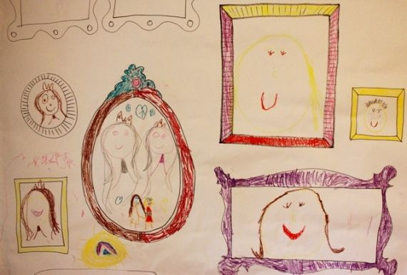 Do your kids ever draw on the wall? What if you covered the wall with paper first and added a few frames for inspiration... Would you be okay with it then? Here's a post on DIY Frame Wallpaper for Kids Art...