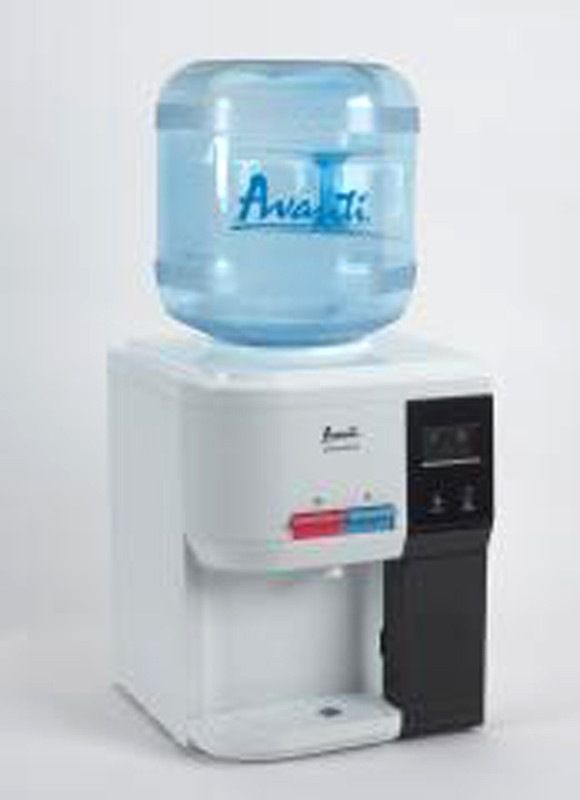 Avanti WD31EC Water Dispenser Table Top Hot Cold Cup Storag. Features: Selectable Operational Modes: Normal or Energy Saver Lightweight and Durable ABS Construction Silent Thermoelectric Technology (No Compressor) For Use at Home or the Office Full LED Display for all Functions Push Button Faucets for Hot and Cold Drinking Water (Child Safety Guard on Hot Water Faucet) Built-In Cup Storage Compartment Uses Standard 2, 3, or 5 Gallon Bottles (Bottles are not Included) Convenient Drain Plugs…