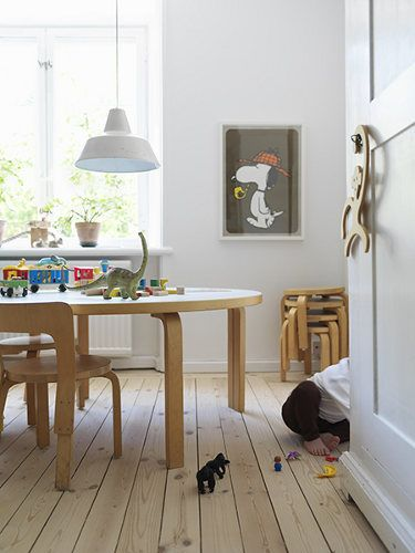 Hard wearing floors for kids space. Love the Snoopy art piece!