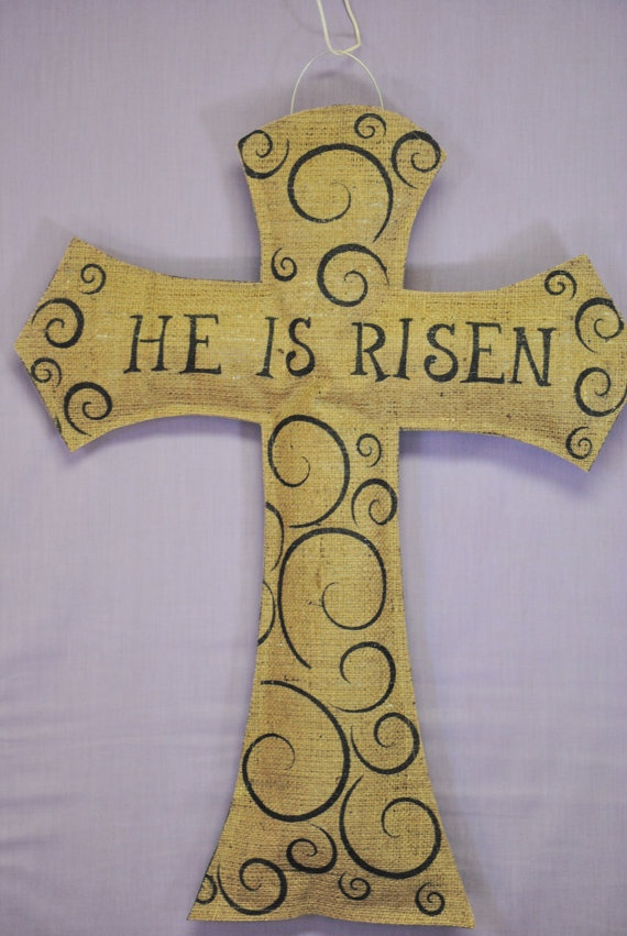 He is Risen Natural Burlap Easter Cross by AllUniqueThings on Etsy, $25.00