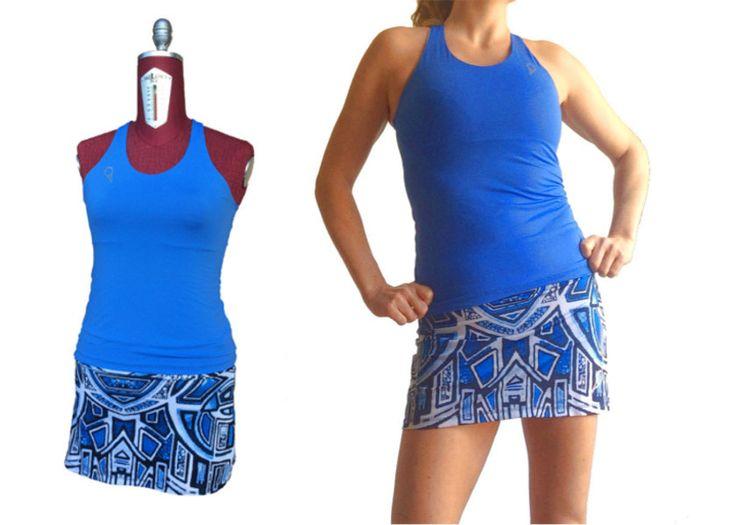 completo tennis donna canotta azzurra e gonna fantasia stampa digitale con pantaloncino inserito di sartoriadeltennis su Etsy