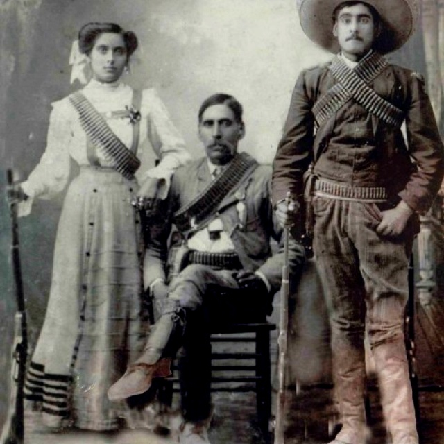 My grandmother, grandfather and great uncle during the Mexican Revolution, Durango Mexico 1910