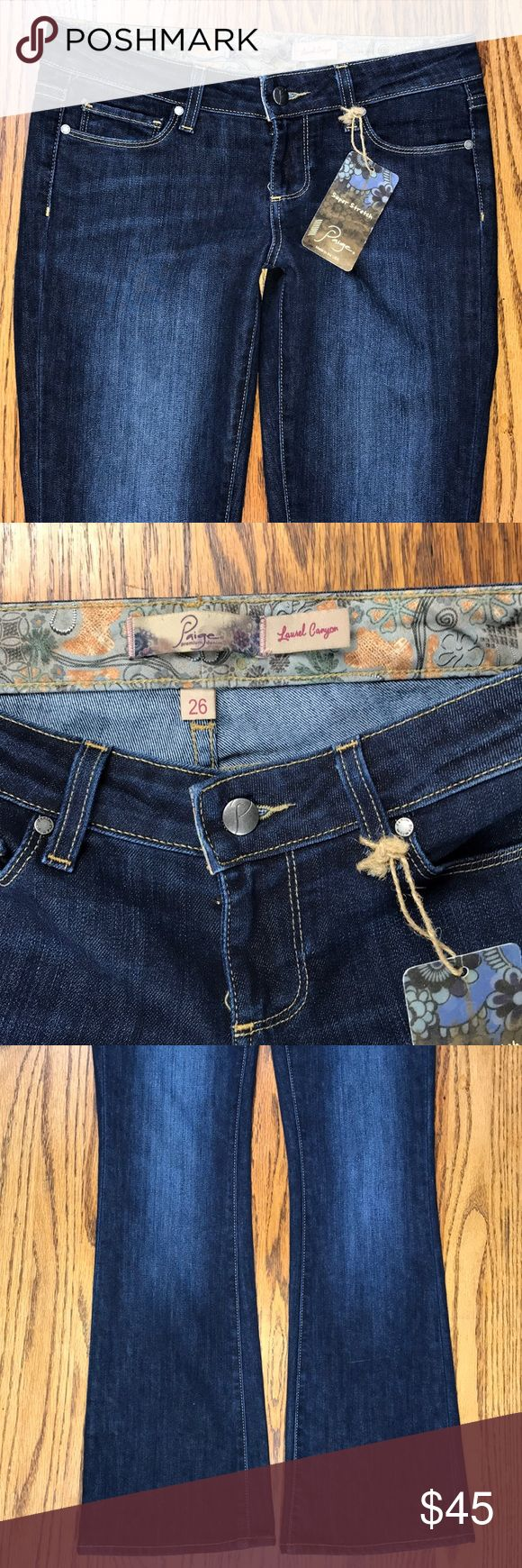 """Paige Laurel Canyon Stretch Denim Jeans New, with tags. Paige premium denim jeans, Laurel Canyon edition. Tagged 26, measures flat, waist 15.25, Rise 7.5"""", Inseam 31"""", Leg opening 8.75. New, perfect. Paige Jeans Jeans"""