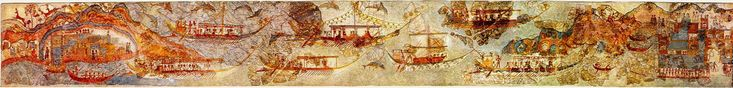 Fresco of a ship procession from bronze age excavation at Akrotiri, on the greece island Santorini