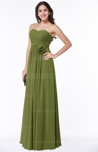 Olive Green Elegant Empire Strapless Sleeveless Half Backless Plus Size Bridesmaid Dresses