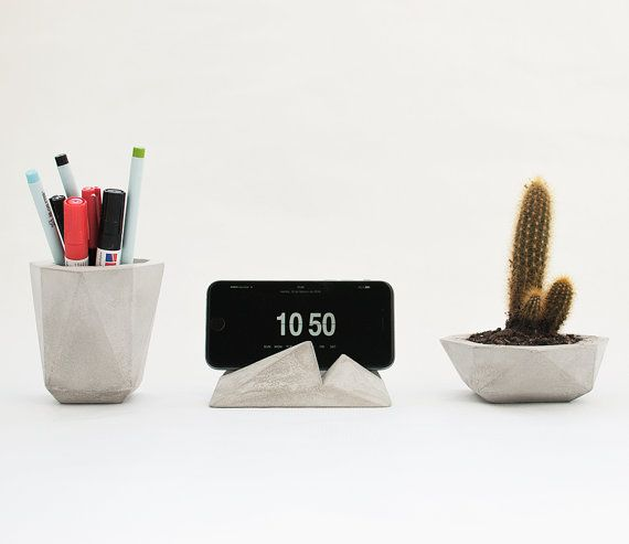 Moderne Bureau-accessoires, bureaublad ingesteld planter-pen houder-telefoon stand, plant pot-potlood-smart telefoon kantoor pack. bureaublad concrete organisator