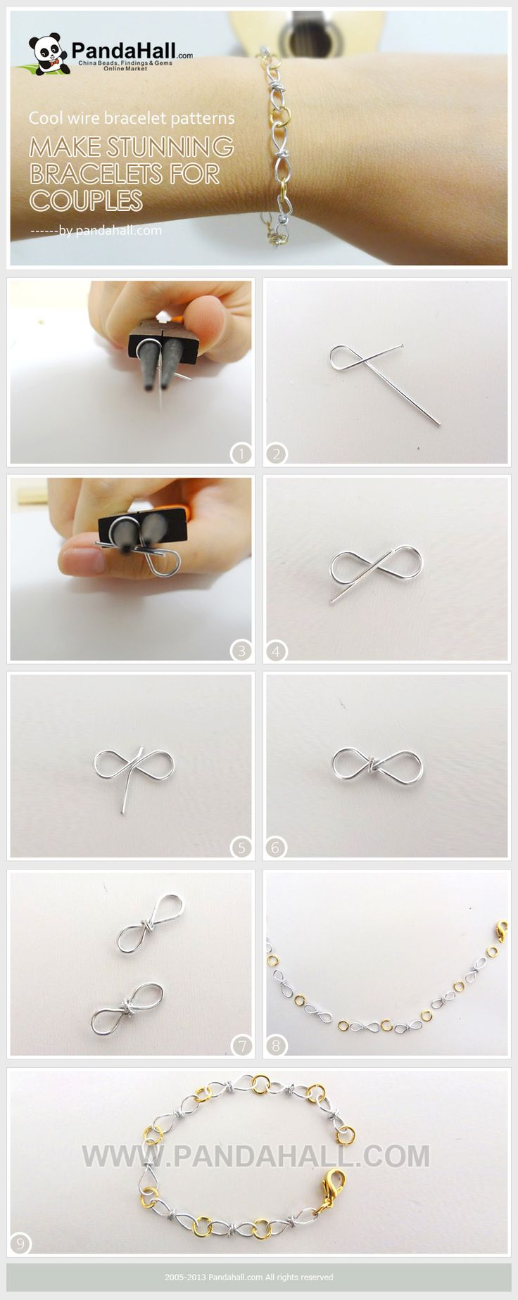 These pictures illustrate the procedures for designing truly cool wire bracelet patterns. Without any intricate or feminine decorations, these can also regarded as sweet gift bracelets for couples.