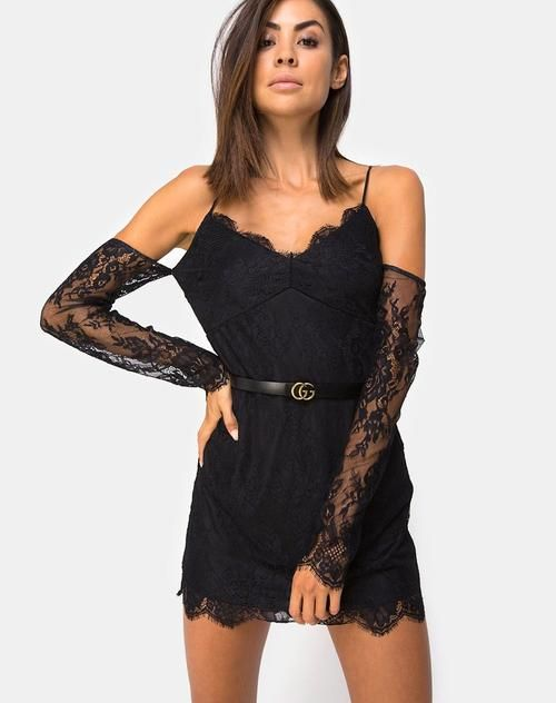 a76c5bc9a49 Kusakina Dress in Lace Black by Motel
