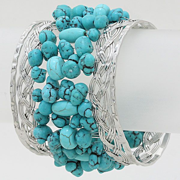 Lidia Bracelet in Turquoise and Howlite on Emma Stine Limited   2 SILVER BRACELETS, CONNECTED WITH TURQUOISE!  FAN-TAS-TIC!!!