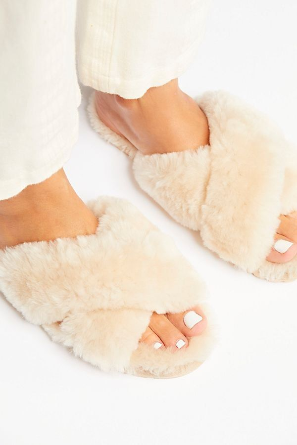 38b110202b7 Mayberry Slipper - Cream Colored Furry Fuzzy Slipper Sandals with Criss  Cross Straps