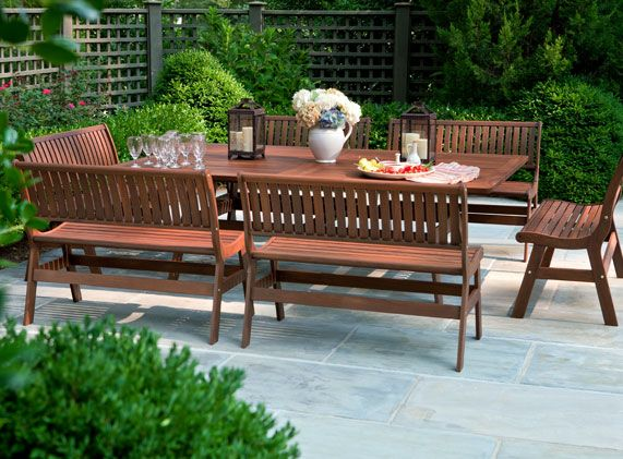 Ordinaire All Weather Wooden Amber Beechworth Grande Outdoor Dining Table And Bench  Set By Jensen Leisure Set Includes One Grande Dining Table And Six Amber  Benches: