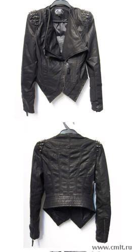 Куртка из кожзама с шипами, размер L (44-46)