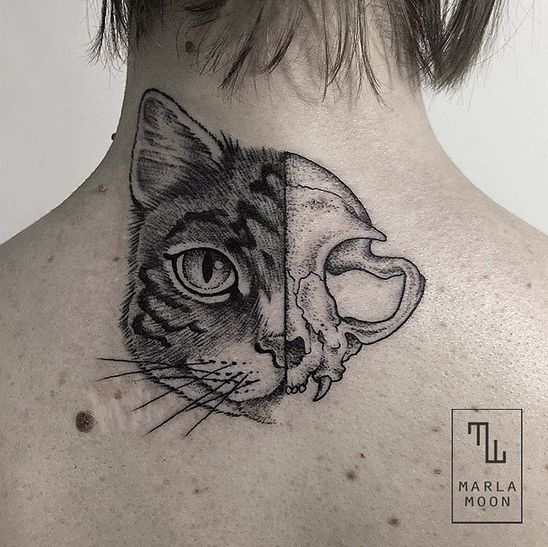 Cat and skull tattoo by @marla_moon on instagram
