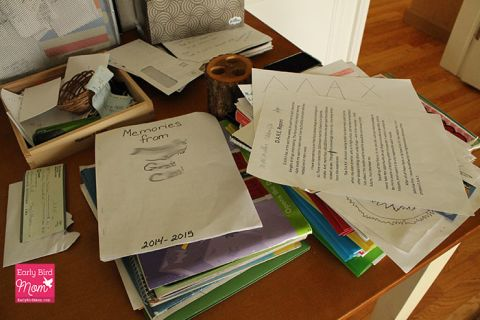 The end of the school year means piles of school papers! Are you dealing with this too? Here's how to quickly declutter and organize your kids school work. Keep your home organized and your life more peaceful with this simple organizing project.   This is a quick project that really helps get you into summer mode. Plus, you can see my simple decluttering process laid out.