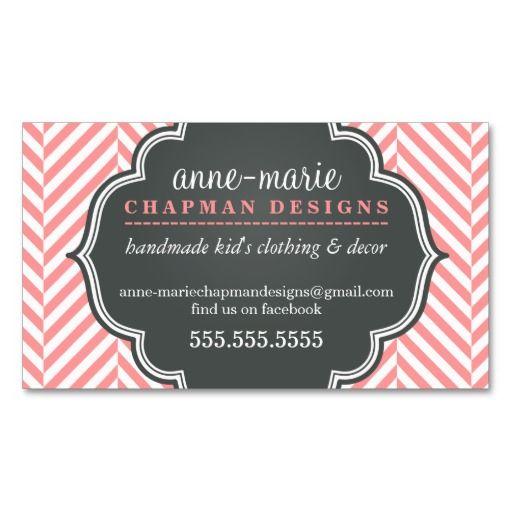 LOGO modern herringbone pattern coral badge grey Business Card Template