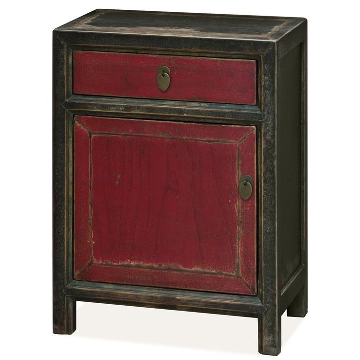 Constructed entirely of elm lumber reclaimed from rural Chinese villages, each panel is hand painted by master artisans. The warm and charming red panel is framed in distressed black and complemented by brass hardware, making this piece a bright and colorful work of art. One single door compartment and one drawer provide ample storage space. One removable shelf inside for your storage convenience. Fully assembled.