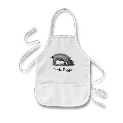 Little Piggy: Original pencil drawing of a little pig eating at the trough: Bibs and Aprons
