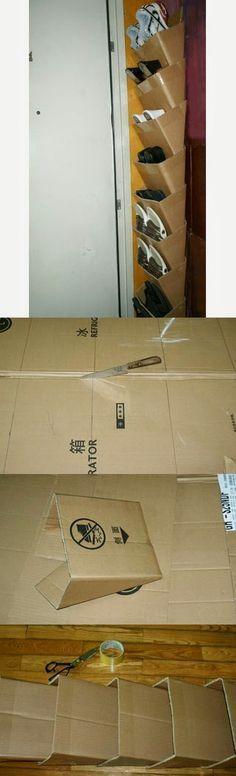 EL MUNDO DEL RECICLAJE: DIY zapatero con cajas de cartón.................................... Recouvert de joli papier ou peinture!!!!!