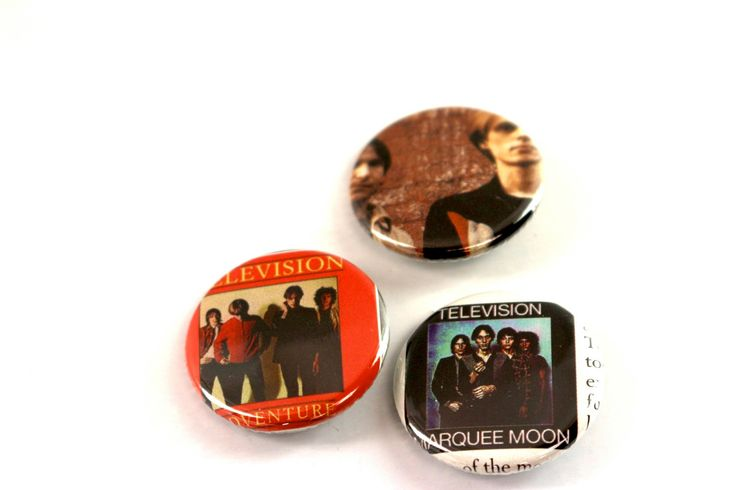 Television Band Pins Original Marquee Moon Buttons Post Punk Tom Verlaine Richard Hell badges by JeepsterVintage on Etsy