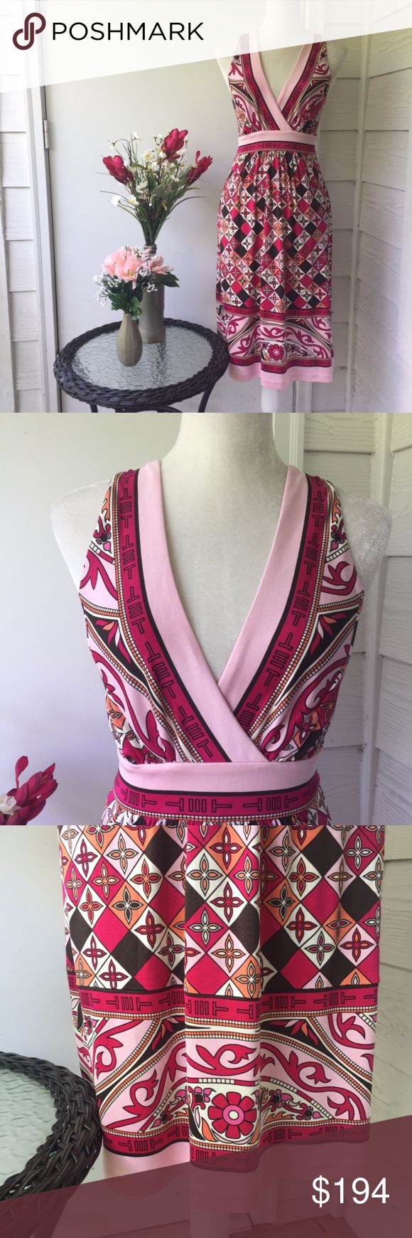 NWT Tory Burch Pink Floral Patterned Empire Dress Gorgeous brand new Tory Burch dress with pink and orange floral pattern. Empire waist with deep v neck and a nice flowy skirt. Straps go up over the shoulder and cross in the back and button. Really nice pink details around the hem, neckline, and the waist. Measurements are shown in the images, the first measurement picture is the empire waist and the second is the length from the top of that waist band to the hem. The bust is lined, but the…