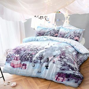 from pieridae unicorn christmas quilt duvet cover with pillow case bedding set double