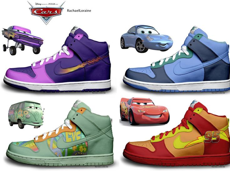 Colorful Nike Dunks Disney Cars Sneakers Fashion