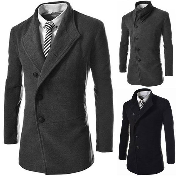 Mens Slim Fit Single Breasted Long Trench Coats