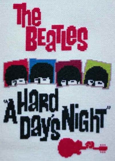 PDF Version Beatles A Hard Day's Night Movie Poster Counted Cross Stitch Chart Immediate Download
