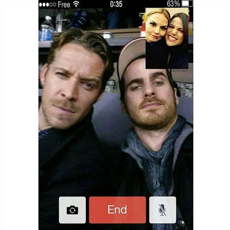 Imagine Regina and Emma FaceTimeing Robin and Killian