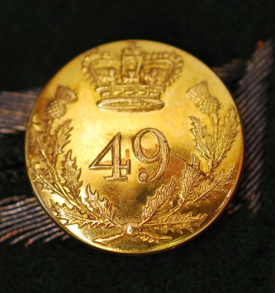 Officer's Button- The 49th (Hertfordshire) Regiment of Foot)- in the Canadas- 1802-1815