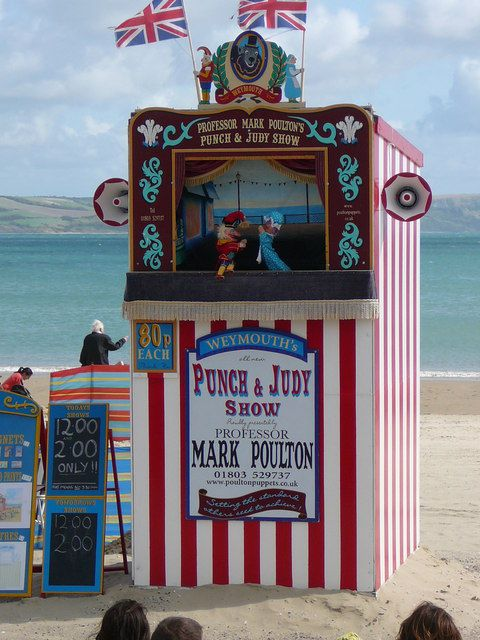 'Punch & Judy' Show, Weymouth Beach. Wonderful childhood memories of watching Punch and Judy on the beach; loved punch and judy shows!!