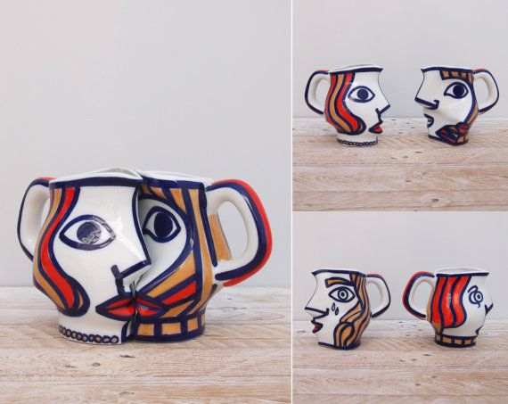 The Couple Mug Set  Castro / Sargadelos Ceramic by goldencranehome