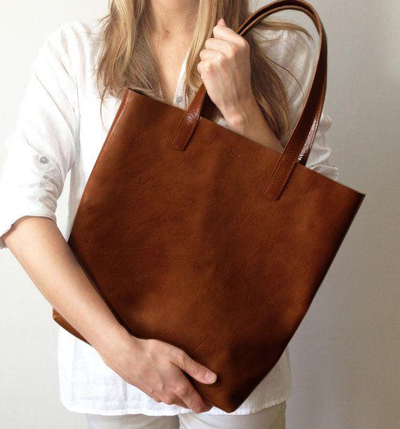 Bolsa shopper de cuero marrón de mejor calidad duradera por MISOUI