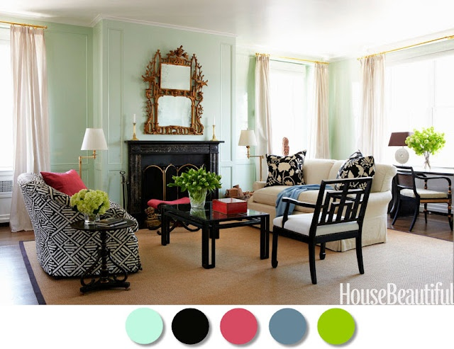 Love this living room color scheme that was featured in House Beautiful #everythingleb