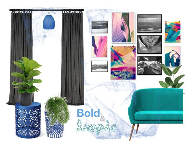 Home decor collection, inspired by tropical atmosphere, nature and summer. Bold color combination. #gallerywall #homedecor #walldecor #livingroomdecor #indoorplants #wallart Bold & Tropic Apartment Decor by kacix on Polyvore featuring interior, interiors, interior design, home, home decor, interior decorating, Safavieh, WAC Lighting and Abigail Ahern